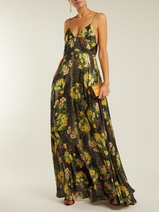 ADRIANA IGLESIAS Liz Floral-Print Silk-Blend Black Gown