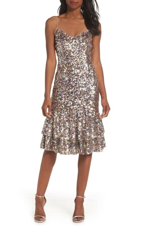 ADRIANNA PAPELL Ruffle Hem Sequin Midi Pink / Multicolored Dress
