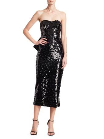 AHLUWALIA Vergara Bow-Back Sequin Jet Black Dress