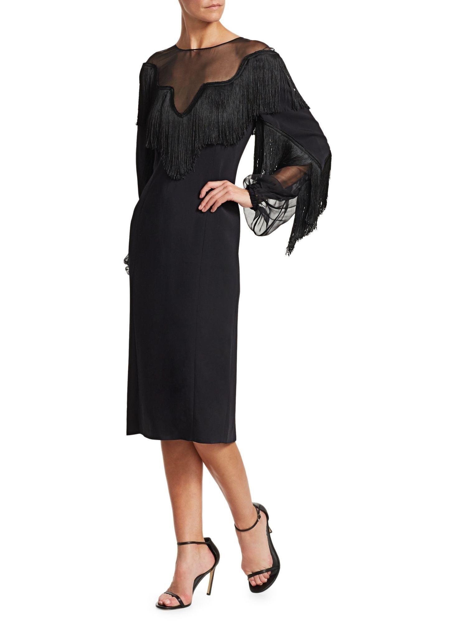 60379fc2e39 ALBERTA FERRETTI Long Sleeve Fringe Black Dress - We Select Dresses