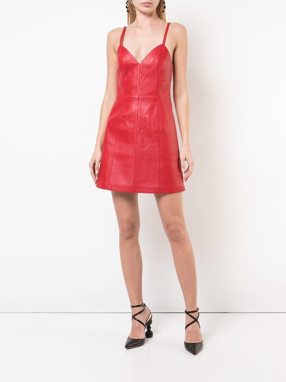 ALEXA CHUNG Flared Mini Red Dress