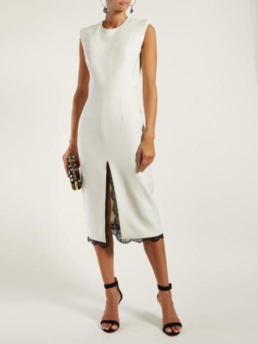 ALEXANDER MCQUEEN Crepe Midi White Dress