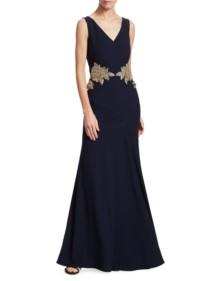 ALEXANDER MCQUEEN Embellished V-Neck Flare Midnight Blue Gown