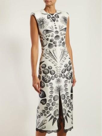 ALEXANDER MCQUEEN Shell-print Wool-blend Crepe White Dress 2