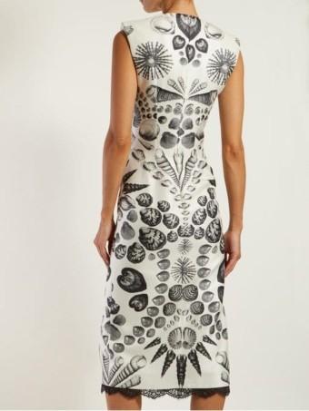 ALEXANDER MCQUEEN Shell-print Wool-blend Crepe White Dress 3