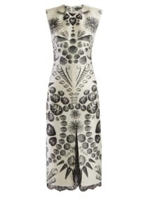ALEXANDER MCQUEEN Shell-print Wool-blend Crepe White Dress 4