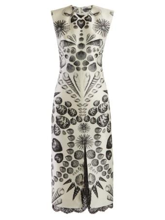 ALEXANDER MCQUEEN Shell-print Wool-blend Crepe White Dress 4
