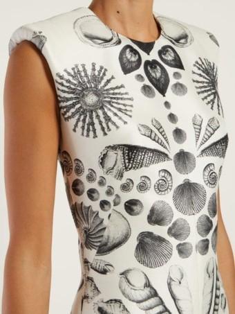 ALEXANDER MCQUEEN Shell-print Wool-blend Crepe White Dress 5