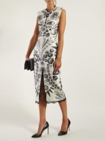 ALEXANDER MCQUEEN Shell-print Wool-blend Crepe White Dress