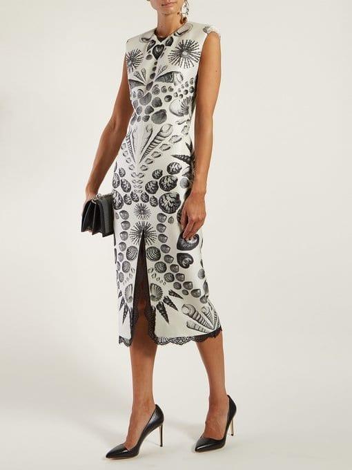ALEXANDER MCQUEEN Shell-print Wool-blend Crepe White Dress
