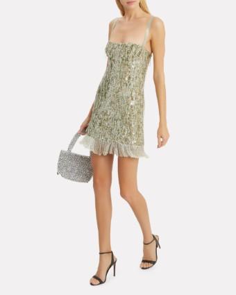 ALEXIS Izabell Sequin Mini Silver Dress