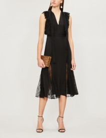 ALEXIS Sterling Silk And Lace Black Dress