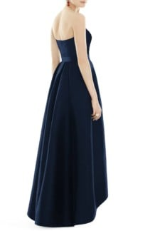 ALFRED SUNG Strapless High/Low Sateen Twill Blue Gown 2