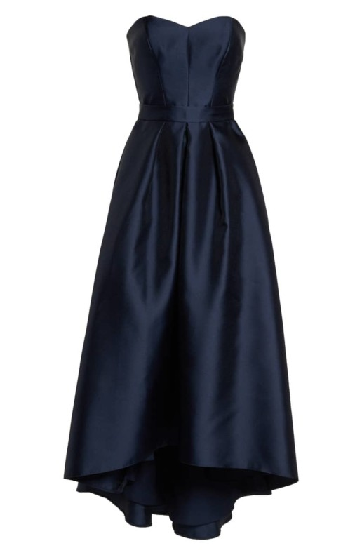 ALFRED SUNG Strapless High/Low Sateen Twill Blue Gown 3