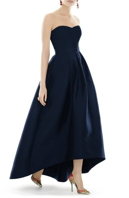 ALFRED SUNG Strapless High/Low Sateen Twill Blue Gown