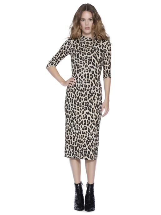 ALICE AND OLIVIA Delora Fitted Midi Beige / Leopard Printed Dress