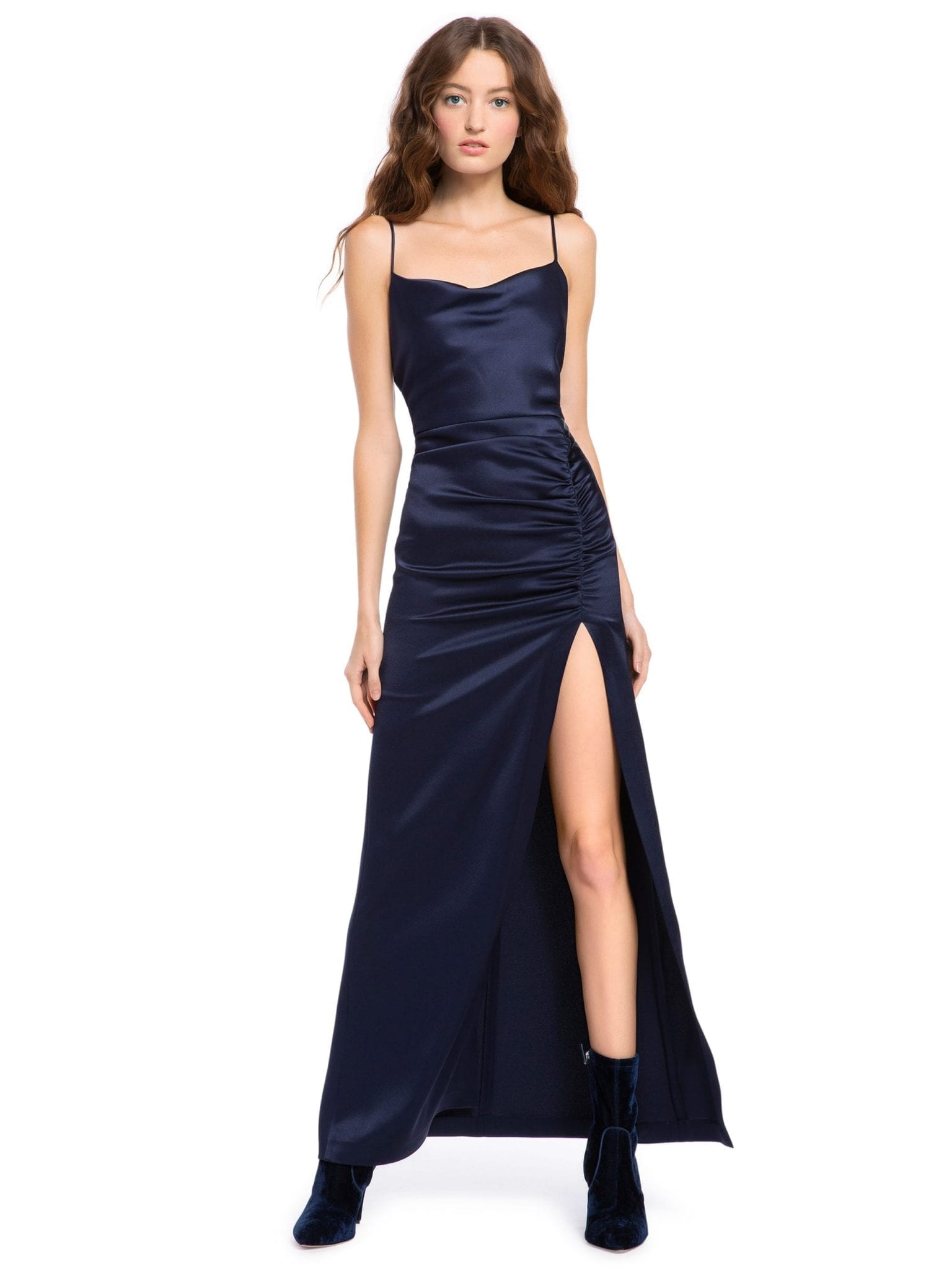 ALICE AND OLIVIA Diana Ruched Maxi Navy Dress