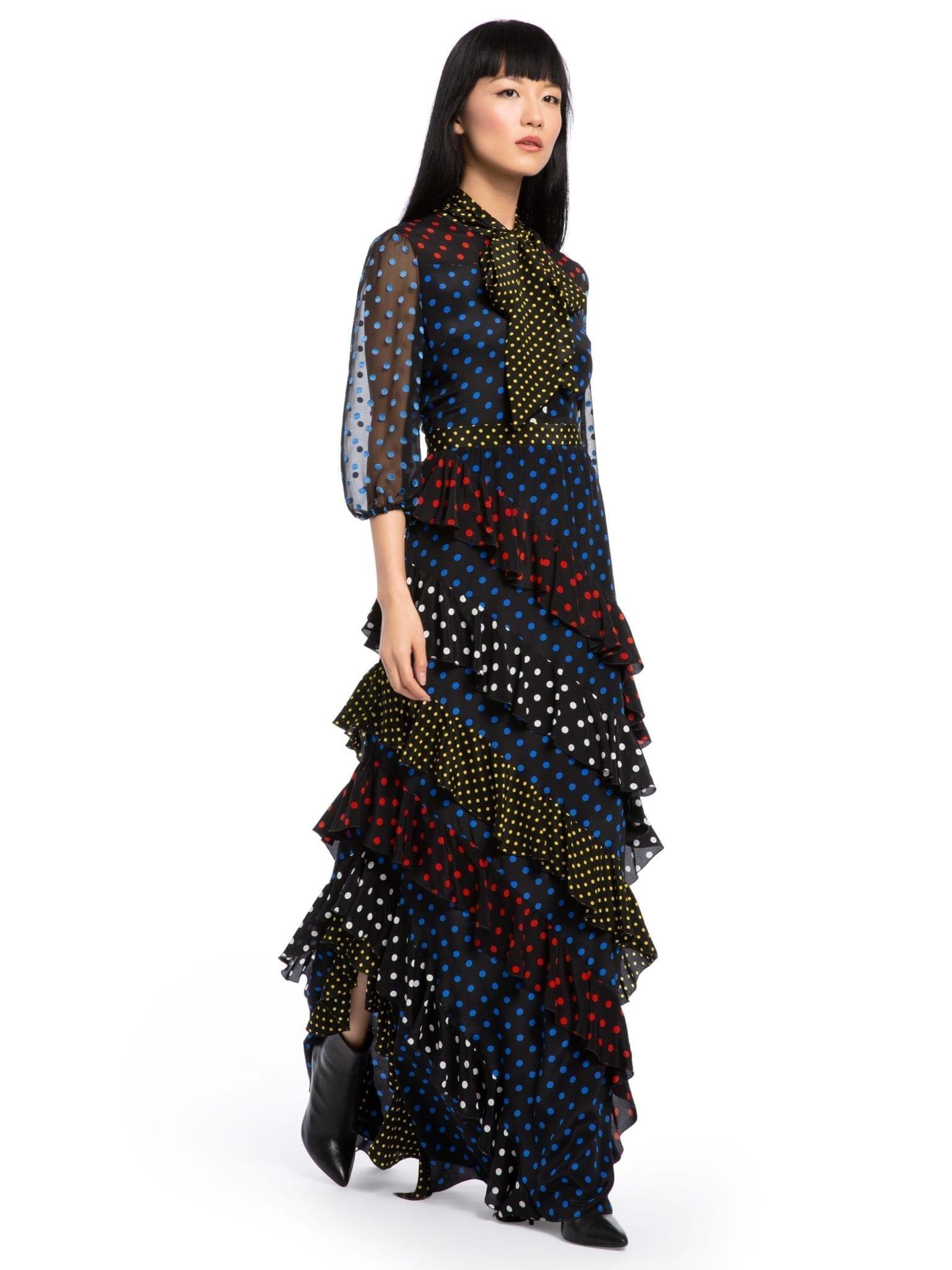ALICE AND OLIVIA Lessie Ruffle Maxi Multicolored Dress