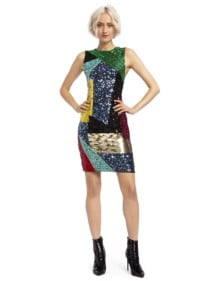 ALICE AND OLIVIA Nat Sequin Fitted Midi Multicolored Dress