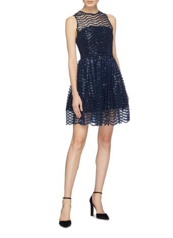 ALICE + OLIVIA 'daisy' Wavy Sequin Stripe Navy Dress
