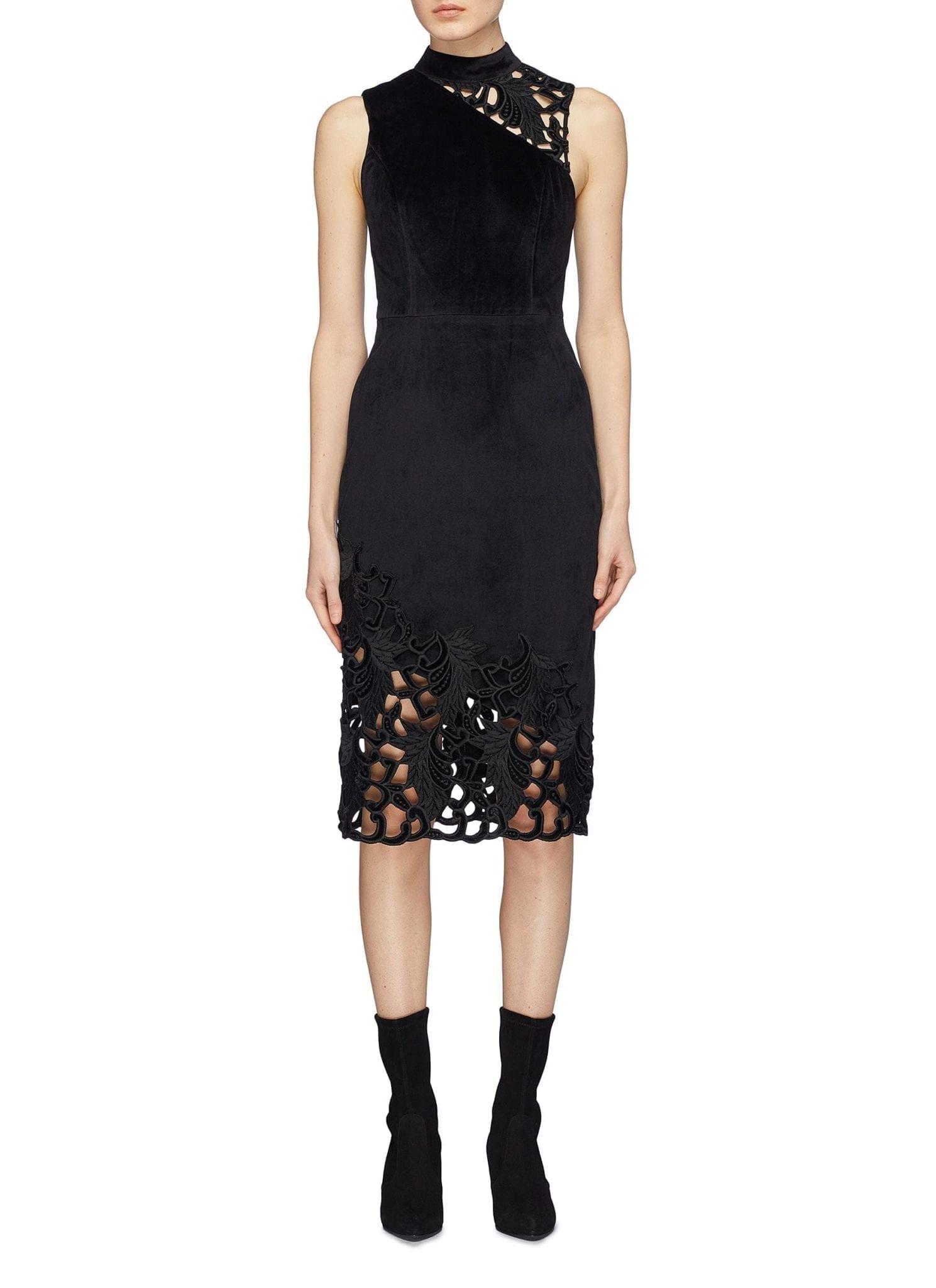 ALICE + OLIVIA 'kiana' Lace Trim Velvet Midi Black Dress