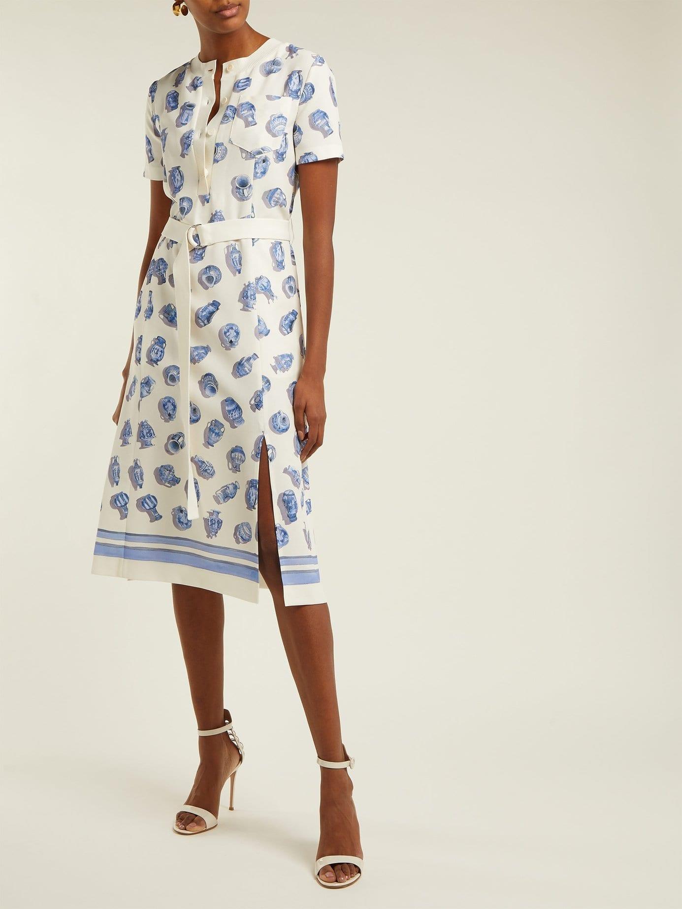 ALTUZARRA Caletta Vase-Print Crepe Midi Ivory Dress