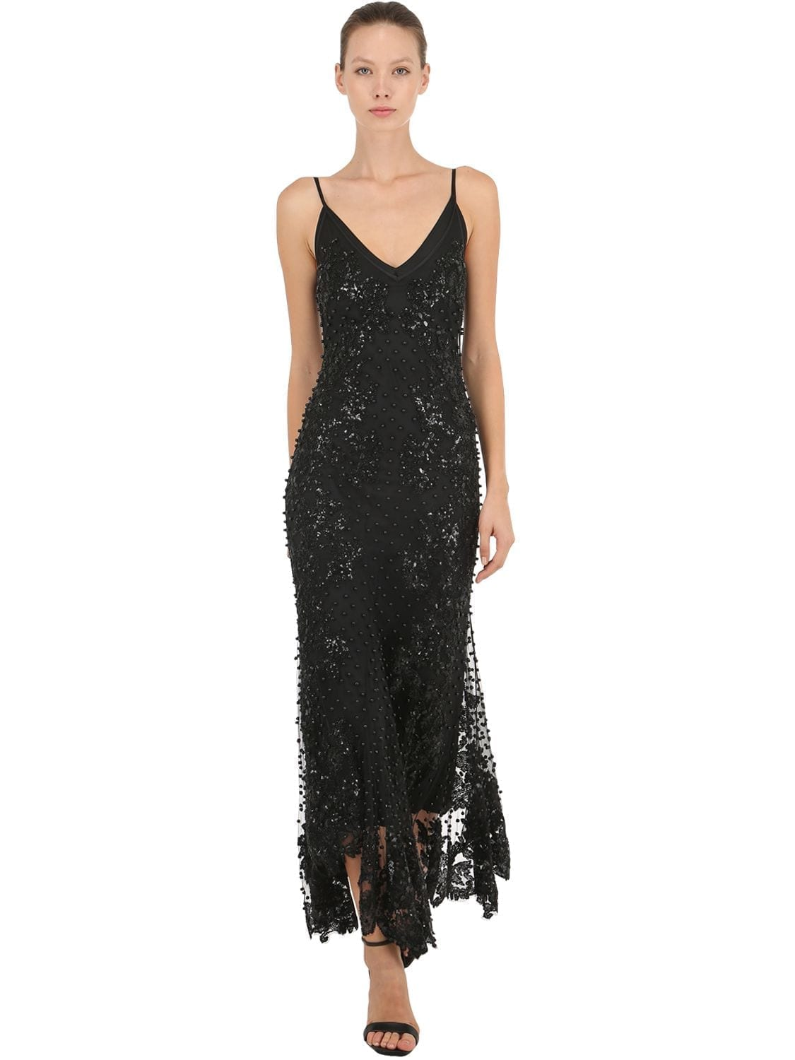AMEN COUTURE Beaded & Sequined Long Flared Black Dress