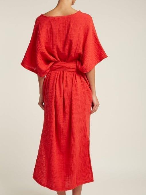 ANAAK Kai Belted Cotton Red Kaftan 3