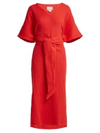 ANAAK Kai Belted Cotton Red Kaftan 4