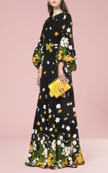 ANDREW GN Crystal-Embellished Floral-Print Silk Black Gown 2