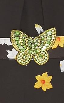 ANDREW GN Crystal-Embellished Floral-Print Silk Black Gown 5