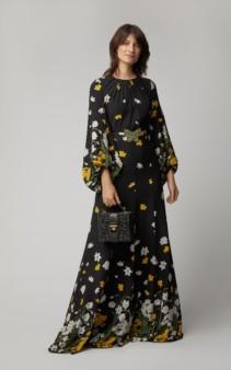 ANDREW GN Crystal-Embellished Floral-Print Silk Black Gown