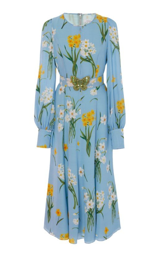 ANDREW GN Floral-Print Silk-Georgette Midi Dress