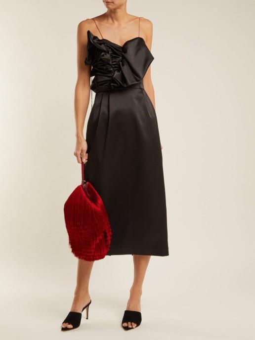 ANNA OCTOBER Ruffled Satin Midi Black Dress