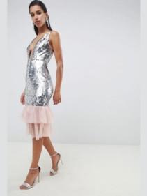 ASOS-DESIGN-Embellished-Sequin-Plunge-Midi-Silver-Dress-with-Tulle-Pephem