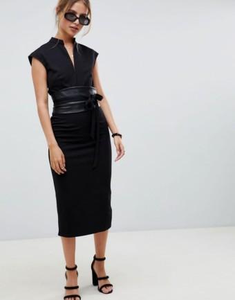 ASOS DESIGN Faux Leather Obi Belt Pencil Midi Black Dress