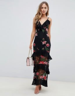 ASOS DESIGN Floral Embroidery Tiered Maxi Black Dress