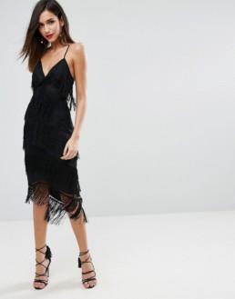 ASOS DESIGN Fringe Mesh Strappy Midi Bodycon Black Dress