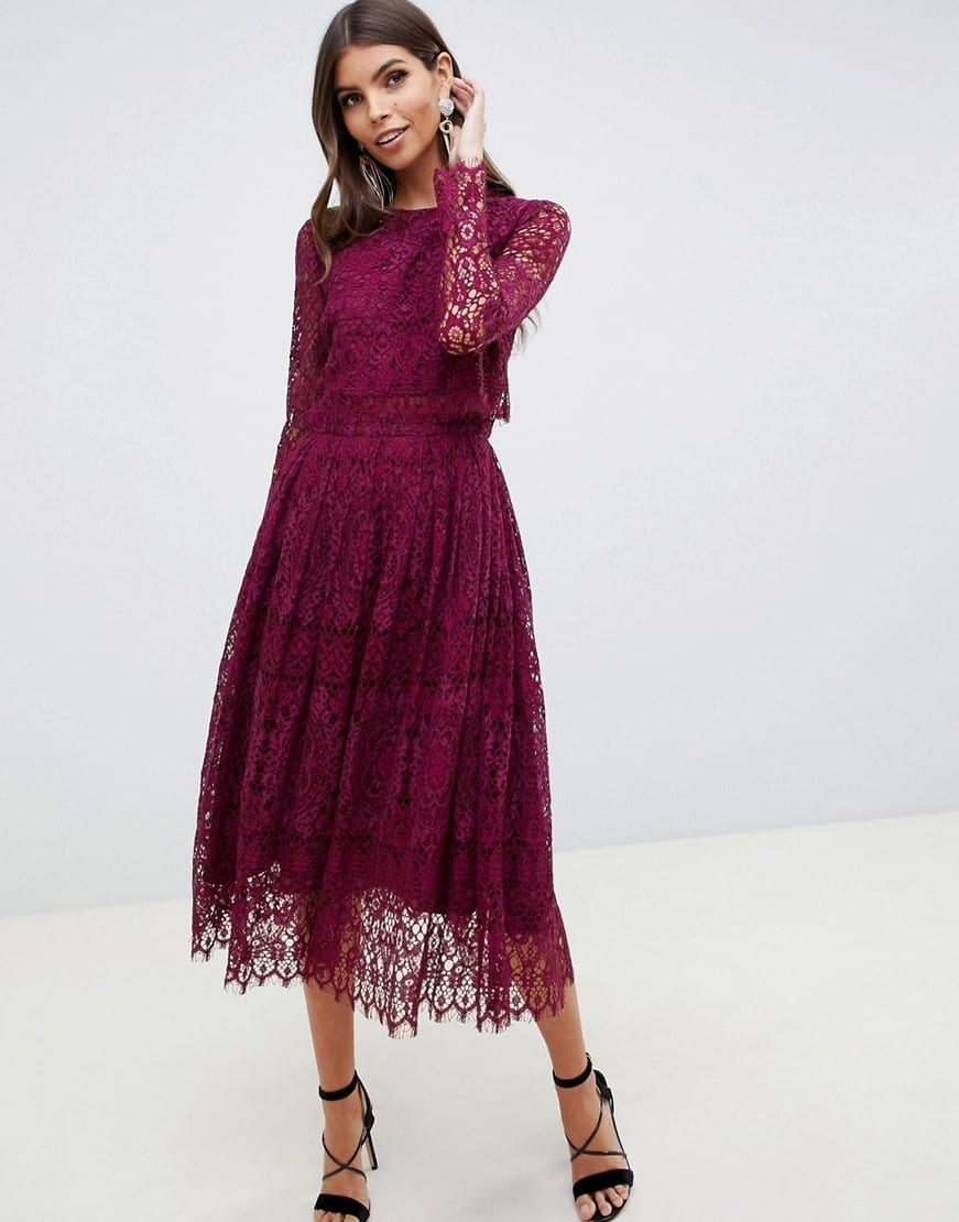 Asos Design Lace Long Sleeve Midi Prom Burgundy Dress