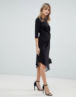 ASOS DESIGN Lace Mix Twist Front Midi Black Dress
