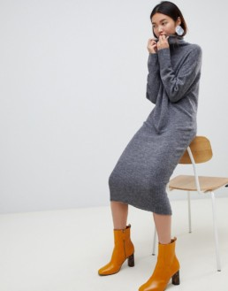 ASOS DESIGN Midi Knit Charcoal Dress