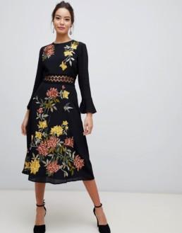 ASOS DESIGN Premium Floral Embroidered Lace Inserts Midi Black Dress