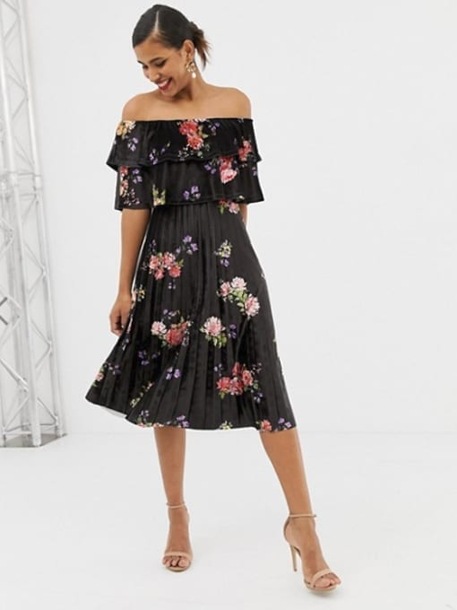ASOS-DESIGN-Printed-Velvet-Double-Ruffle-Pleated-Midi-Multi-Dress