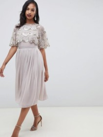 ASOS-DESIGN-Scallop-Hem-Embellished-Crop-Top-Midi-Grey-Dress