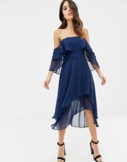 ASOS DESIGN Soft Layered Bandeau Midi Navy Dress