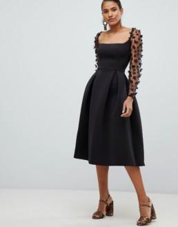 ASOS DESIGN Square Neck 3d Floral Lace Midi Prom Black Dress
