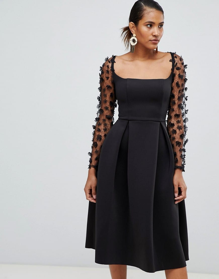 Asos Design Square Neck 3d Floral Lace Midi Prom Black