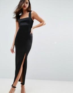 ASOS DESIGN Square Neck Thigh Split Scuba Maxi Black Dress