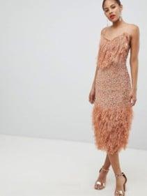 91109d4ec2f4 ASOS DESIGN Tall Feather Effect Trim Sequin Midi Bodycon Dark Nude Dress