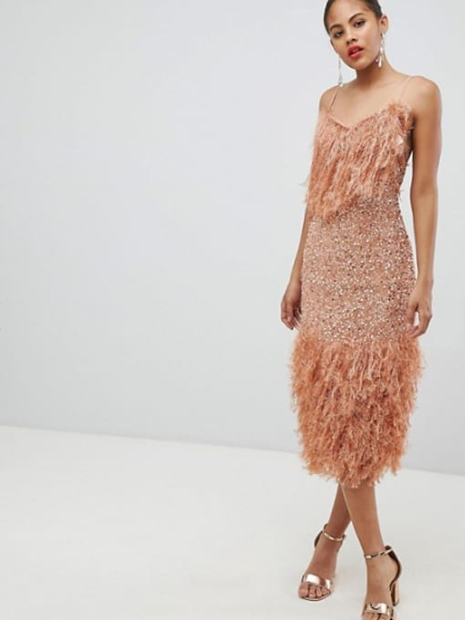 4784b77275d ASOS DESIGN Tall Feather Effect Trim Sequin Midi Bodycon Dark Nude Dress